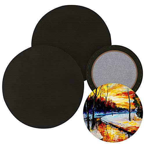 Ruisita 4 Pack Round Pre-stretched Canvas Primed Canvas Boards for Painting Artist Canvas Professional Stretched Boards for Acrylic Painting Oil Painting, Black