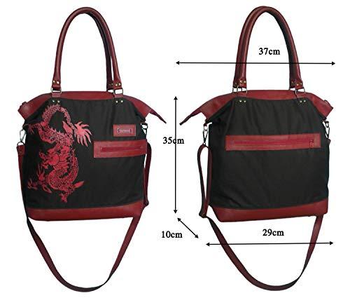Wasserabweisende braun-rote Handtasche mit Print. Praktische Wasserdichte Umhängetasche mit vielen Innentaschen und Vortaschen. Canvas Tasche mit Ledereinsätzen.Schultertasche mit Drachenmuster