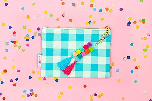 Blue Gingham Cosmetic Bag - Pom Pom Tassel Pouch
