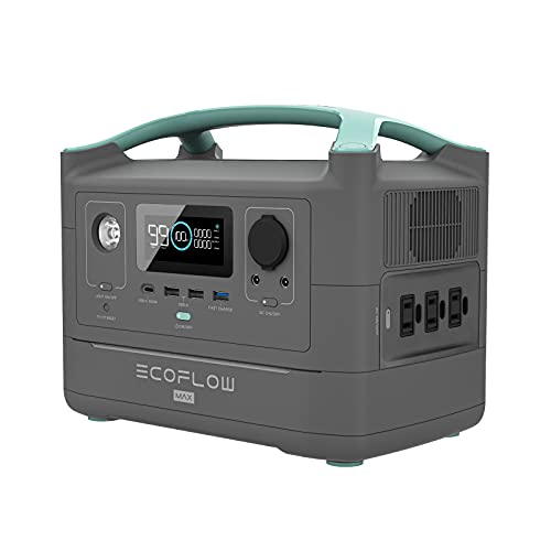 EF ECOFLOW RIVER Max Portable Power Station, 576Wh Backup Lithium Battery with 3 x 600W (Peak 1200W) AC Outlets & LED Flashlight, Clean & Silent Solar Generator for Outdoor Camping RV(Gray)