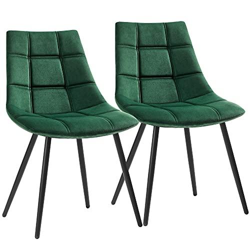 SONGMICS Set di 2 Sedie da Pranzo, Sedie da Cucina Moderne, Sedie Imbottite con Gambe in Metallo e Rivestimento in Velluto Liscio, Verde LDC084C01