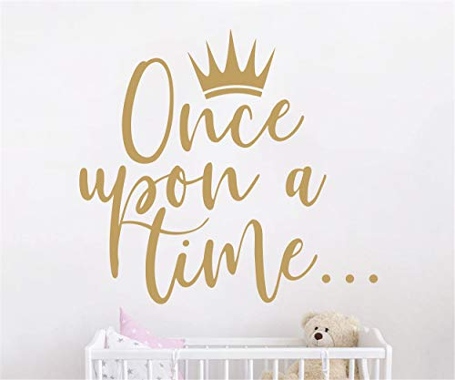 JURUOXIN Once Upon a time with Crown Wall Sticker Art Vinyl Home Quote Decals for Kids Girl Princess Room Nursery Decoration House Interior Design YMX38 Matte Gold 42X38CM
