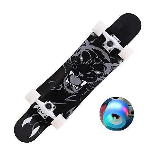 SXQ 31'' Longboard Komplett Ahorn Skateboard für Kinder Jungendliche und Erwachsene, PU Flash Rad, Belastbarkeit 180 kg,Tiger