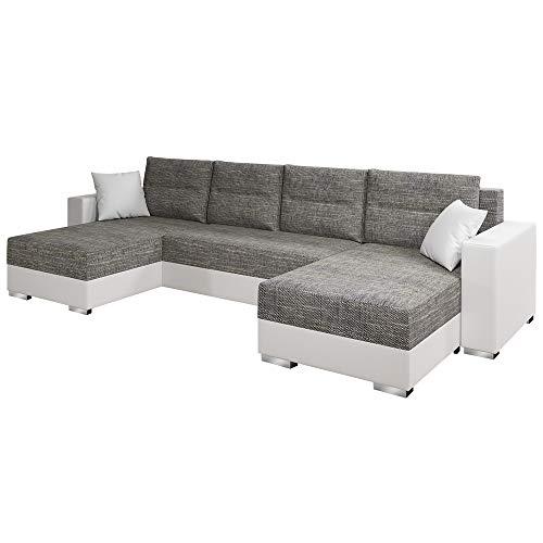 SELSEY GAMBIA - Modern Corner Sofa Bed Grey/White