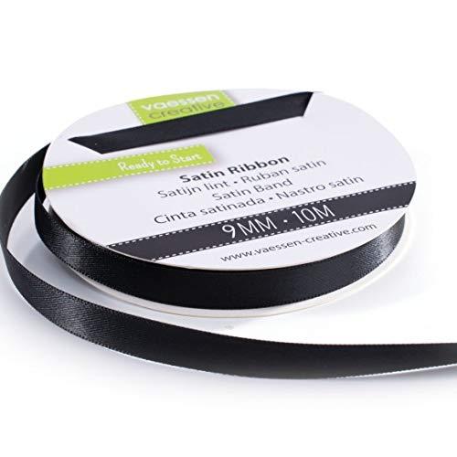 Vaessen Creative 301002-2004 Satinband Schwarz, 9 mm x 10 Meter, Schleifenband, Dekoband, Geschenkband und Stoffband für Hochzeit, Taufe und Geburtstagsgeschenke, 9MM