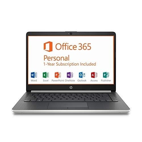 """HP 14"""" HD Intel N4000 2.6GHz 4GB RAM 64GB eMMC Webcam Windows 10 Laptop + 1 Year Microsoft Office, Silver, 14-14.99 inches (7MP91UA)"""