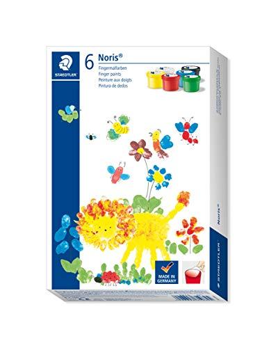 Staedtler 8816 DST, Fensterfarben, Sets und Zubehör Fingerfarbe Noris Club, Sortiert, Kunststoff-Töpfchen-6 x 100 ml