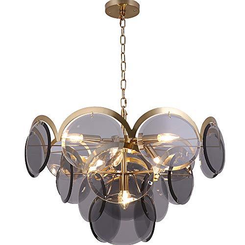 Moderne ronde glas gestapelde creatieve kroonluchter, LED mode jeugdstijl chroom messing frame plafond kroonluchter verlichting, voor slaapkamer woonkamer eettafel woning E14, smoke grijs 60cm