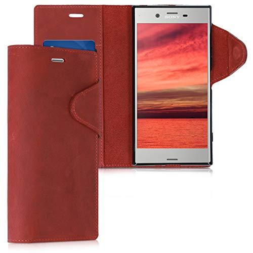 kalibri Funda Compatible con Sony Xperia XZ Premium - Case con Tapa magnética de Cuero de Piel Real en Rojo Oscuro