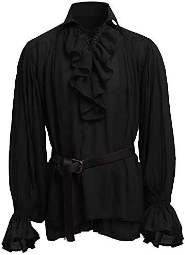 Gemijacka, Camicia da Pirata da Uomo, con Lacci, Increspata, Gotica, Rinascimentale, Stile Vittoriano, Medievale, Halloween A-Nero XXL