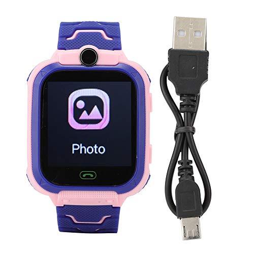 Tiffasha Reloj Inteligente a Prueba de Agua - Reloj Inteligente a Prueba de Agua Reloj de Pulsera Digital multifunción para niños para IOS/AndroidQ12(Rosa)