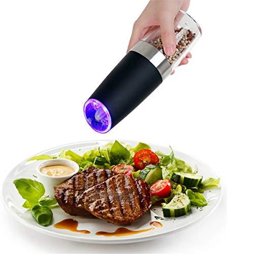 DZFDZ Neue Automatische Elektrische Pfeffermühle Salzmühle Mit Led-Licht Freies Küchengewürz Schleifwerkzeug Automatische Mühlentropfenversand 2 Stück Set A