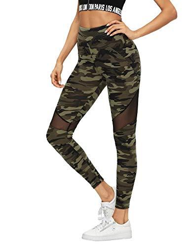 DIDK Femme Legging Camo Camouflage avec Tulle Legging De Sport Casual Militaire Pantalon Fitness Minceur Elastique Running Skinny Multicolore 1-S