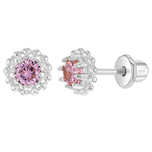 Orecchini royalty in argento Sterling 925, 6 mm, con zirconia cubica rosa, a forma di corona e chiusura a vite, per bambine e ragazze, ipoallergenici