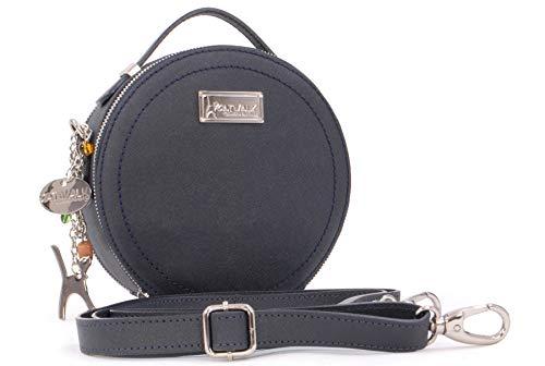 Catwalk Collection Handbags - Saffiano ECHTLEDER - Runde Handtaschen/Umhängetaschen Für Frauen TIFFANY - Blau