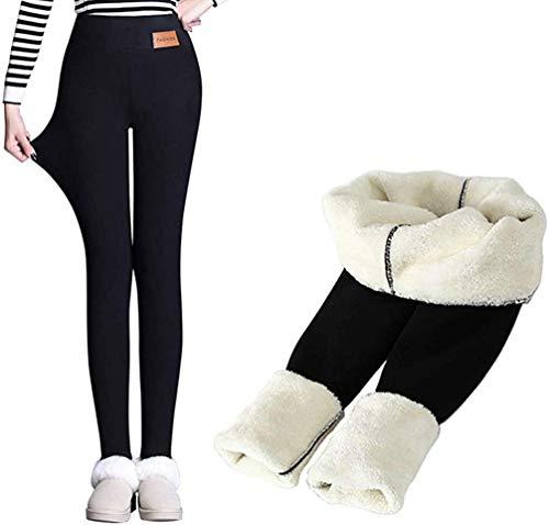 Hezeisoar Warme Thermo Leggings Damen Verdicken mit Plüsch Gefüttert Slim Lange Leggings Elastische Hosen Mädchen Winter Strumpfhose Pants EU XS = Etikett M