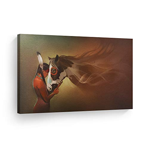 SmileArtDesign Indian Wall Art Native American Girl and Horse Love Canvas Print Home Decor Decorative Artwork Living Room Bedroom Office Wall Decor Ready to Hang Made in USA - 8x12