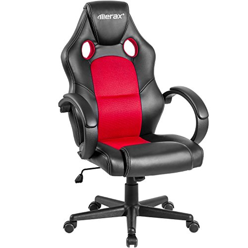 Merax Cobra Series Gaming Chair Office Chair Executive Home Office Chair Racing Style PU Leather Mesh Bucket Seat Swivel Computer Chair. (red.)