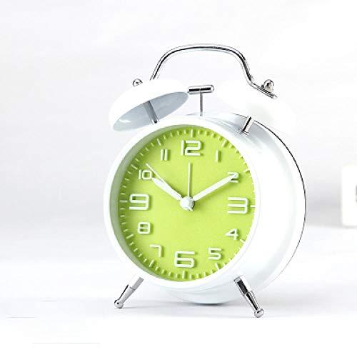 FPRW digitale wekker, driedimensionaal, eenvoudig, met dubbele bel, metalen kop met eenvoudige mechanische bel, groene wijzerplaat