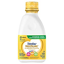 Similac NeoSure Infant Formula with Iron, For Babies Born Prematurely, Ready-to-Feed bottles, 32 Flu