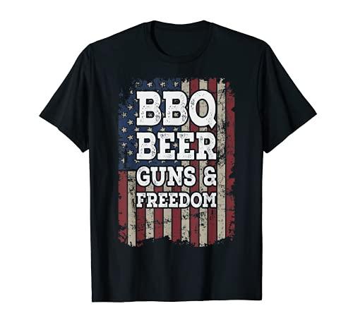 Pistole da birra e libertà – pistola per barbecue vintage con bandiera USA Maglietta