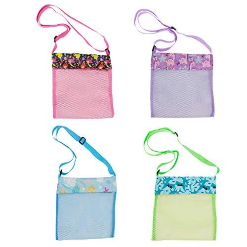 PRETYZOOM 4 Stück Netzbeutel Schöne Schicke Leichte Haltbare Muschel Sammeltasche Strand Spielzeug Veranstalter Strandtasche Umhängetasche