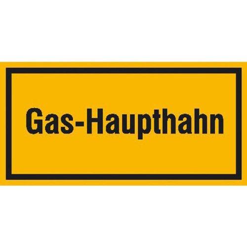 INDIGOS UG - Gas-Haupthahn, Hinweisschild zur Betriebskennzeichnung, selbstklebende Folie, 20x10 cm