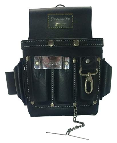 Leather Gold Leather Electrician Tool Pouch, Black | Professional Tool Belt 3400