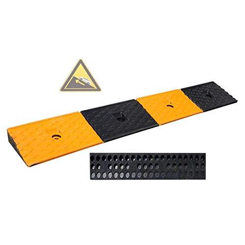 DYB Gummi-Bordsteinrampen Auto-Rampenschwelle Rutschfester Bürgersteig Schwerer Rollstuhl Eingang bergauf Spleißbare Steigung, 4 Größen (gelb, Größe: 100X15X4CM)