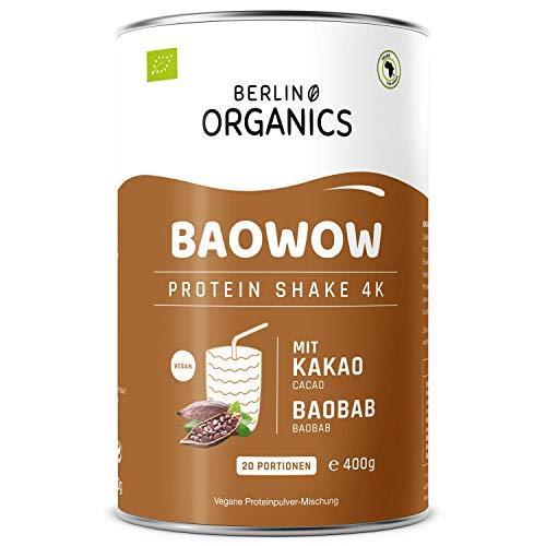 Protein Vegan - Berlin Organics - Baowow Protein-Pulver Schoko - 100% Bio Protein Shake aus veganen Proteinen - Mehrkomponentenprotein 400g