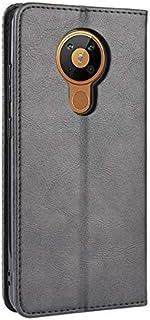 جراب لهاتف نوكيا 5.3، جراب مغناطيسي بتصميم محفظة ريترو مع فتحات لبطاقة الائتمان - أسود