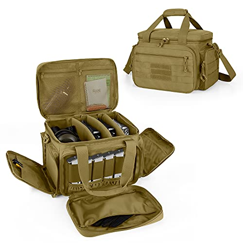 DSLEAF Tactical Gun Range Bag for 4 Handguns, Pistol Shooting Range Bag with 6X Magazine Slots and Extra Pockets for Ammo and Essentials, Khaki