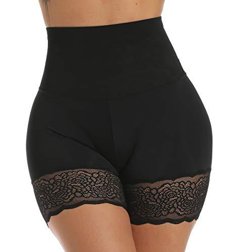 SLIMBELLE Unterhosen Miederpants Unter Rock Damen Kurz Hosen Leggings mit Spitze Anti-Chafing Shorts Radlerhose hohe Taille Bequem Sicherheitshorts mit Bauch-Weg-Effekt