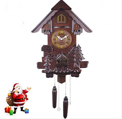 tytlclock Reloj De Pared De Cuco Europeo, Reloj De Sala De Estar Creativo Mudo, Reloj De Cuarzo De Madera Maciza, para Regalos Navideños De Habitación Infantil De Navidad