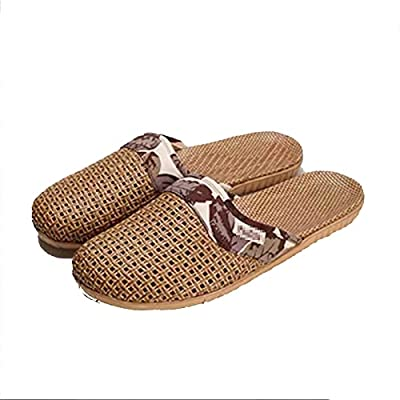 HXXXIN Summer Flax Rattan Slippers for Men and Women Indoor Baotou Couples Home Wood Flooring Silent and Breathable Sandals and Slippers,D42/43