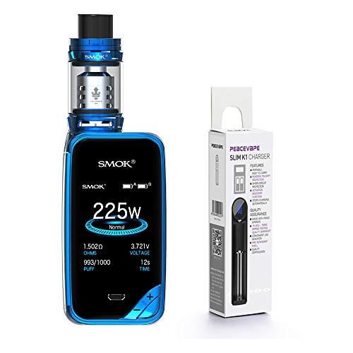 AUTÉNTICO SMOK X PRIV Kit 225W TFV12 PRINCE 2mL Tank Cigarrillo electrónico (Azul) SMOK XPRIV con PEACEVAPE ™ 18650 Cargador delgado de 1 ranura Sin Tabaco - Sin Nicotina