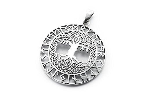 Windalf Nordischer Schmuck Anhänger BARUNA Ø 3.7 cm Baum des Lebens mit Runen Weltenbaum Lebens Glück Amulett 925 Sterlingsilber
