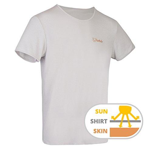 TanMeOn Camiseta de Bronceado para Hombres, recibe Bronceado bajo la Camiseta, Corte con Cuello Redondo, Colores: Blanco, Azul o Gris, (Azul, S)
