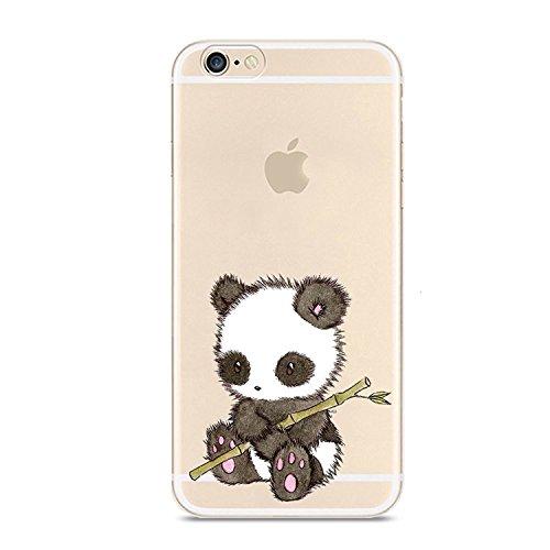 Cover iPhone 6S, Cover iPhone 6, Custodia Morbido Trasparente Silicone con Disegni TPU Bumper con Protettiva Trasparenti Posteriore per iPhone 6   iPhone 6S (Panda 1)