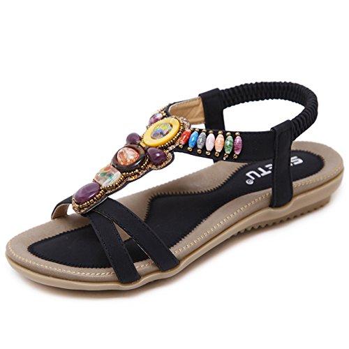 Woky Damen Bohemia Sandalen mit Strass Perlen Sommer Strand Schuhe Freizeit Flach Sandalette, 38 EU, Schwarz