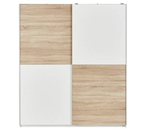 AVANTI TRENDSTORE - Victoria - Armadio con Ante scorrevoli in Legno Laminato, Molto spazioso, Disponibile in Diversi Colori. Dimensioni: Lap 170x196x60 cm (Marrone Chiaro - Bianco)