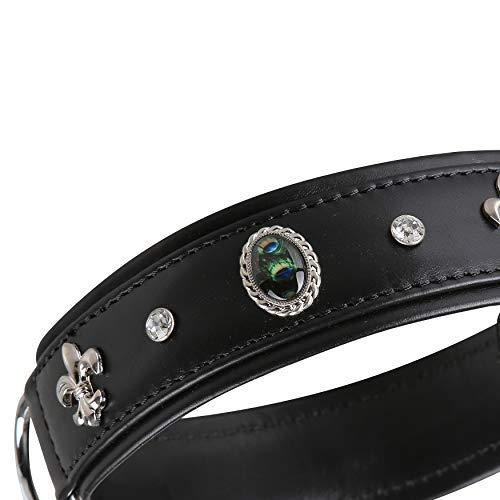 MICHUR EL Pavo Hundehalsband Leder, Lederhalsband Hund, Halsband, Schwarz, Leder, mit Lilien, Strasssteinen und grossem Pfauenauge, in verschiedenen Größen erhältlich