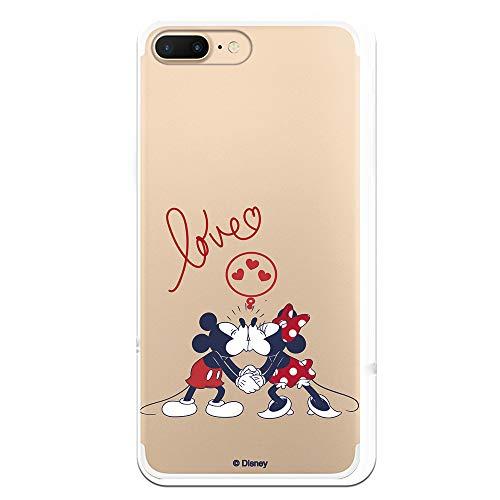 Funda para iPhone 7 Plus - iPhone 8 Plus Oficial de Clásicos Disney Mickey y Minnie Love para Proteger tu móvil. Carcasa para Apple de Silicona Flexible con Licencia Oficial de Disney.