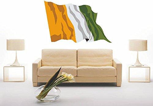 INDIGOS UG - Wandtattoo Wandsticker Wandaufkleber Aufkleber ls75 Ivory Coast - Elfenbeinküste 40 cm farbig bunt als Fahne