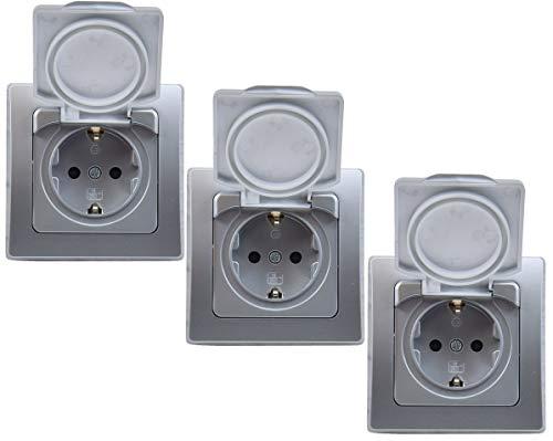 DELPHI Steckdose IP44 mit Klapp-Deckel inkl. Rahmen 230V Unterputz 3 Stück Schutzkontakt-Steckdose Für Feuchträume und Aussenbereich Silber
