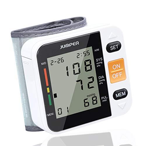 Jumper Monitor Automático de la Presión arterial de Muñeca monitor Esfigmomanómetro Digital con Pantalla LCD Grande Usuarios Duales Recordatorios de Memoria (Blanco)
