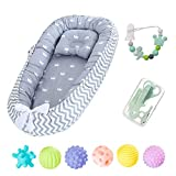 Baby Nest with Pillow for Newborn and Babies, Portable Baby Pod and Cocoon, Baby Bassinet for Bed Lounger Nest Pod Crib Cot Bed Sleeping Breathable & Hypoallergenic Cotton (H-Grey)