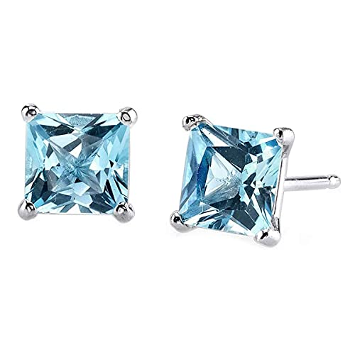 Aretes de plata, topacio azul Gemsonclick natural para las mujeres ni¤as, dise¤ador de talla princesa 4 puntas cesta Conjunto, joyer¡a piedra del Chakra Healing