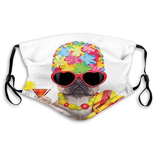 Moda 3D Face_ ma-s-k_ Proteggere stampato viso e bocca protezione Tropical Vacation tema cane infradito occhiali da sole e cocktail esotici Bulldog Pet m
