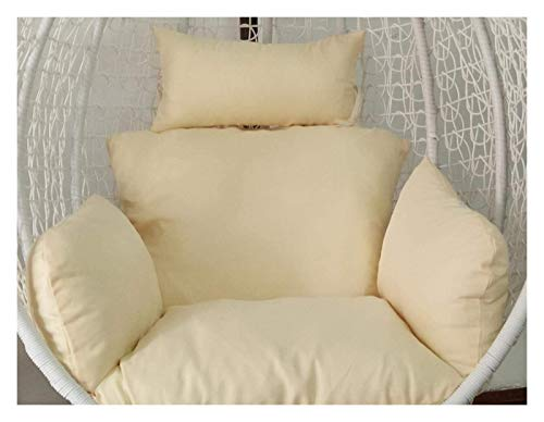 LLNN Home Decoration Swing Chair Cushion Swing Chair Cushions Hammock Chair Pad, Rattan Seat Cushioning Weave Egg Seat Pads with Pillow Hanging Basket Furniture Cushion (Color : Beige)